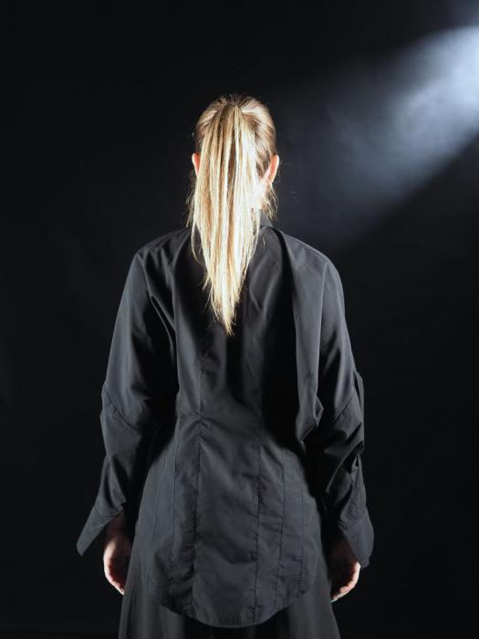 Camasa Neagra Cu Pense Tip Corset [2]