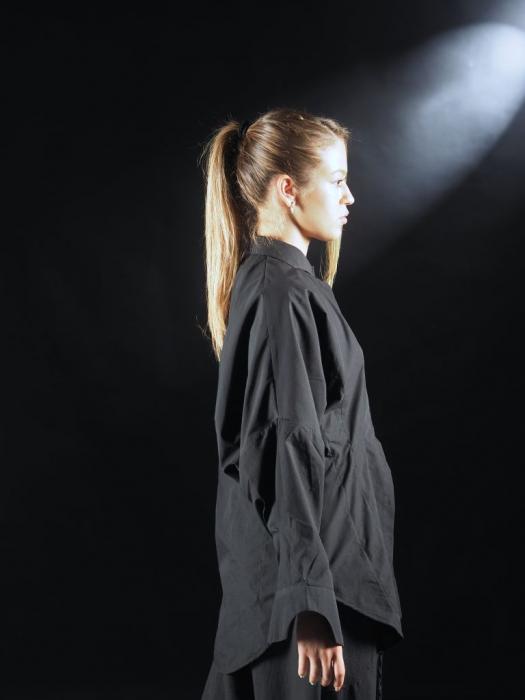Camasa Neagra Cu Pense Tip Corset [4]