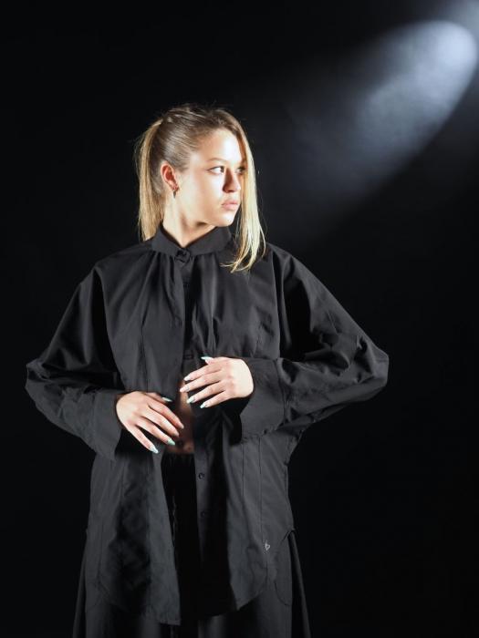 Camasa Neagra Cu Pense Tip Corset [0]