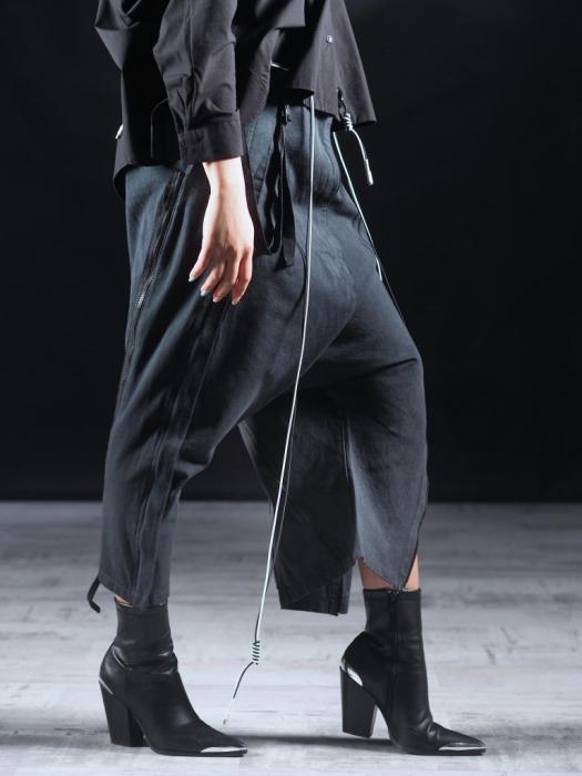 Pantalon Negru Cu Talie Inalta [4]