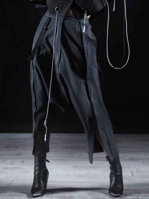 Pantalon Negru Cu Talie Inalta [0]