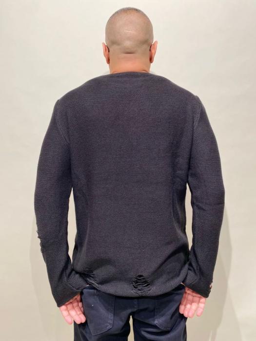 Pulover Negru Tricotat Cu Efect Rupt [4]