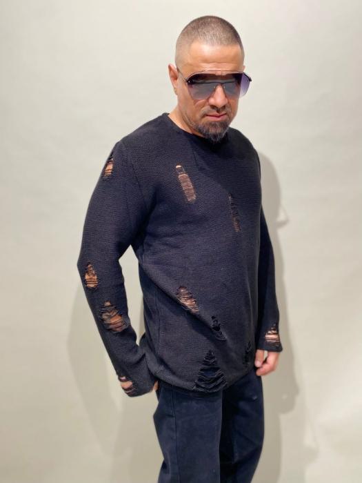 Pulover Negru Tricotat Cu Efect Rupt [1]