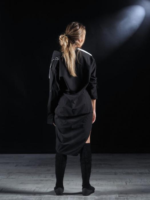 Rochie Tip Camasa Neagra Alba [3]