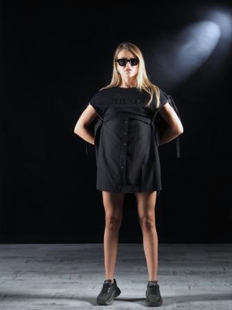 Bluza Neagra Super Dimensionata Accesorizata Cu Fermoare [3]