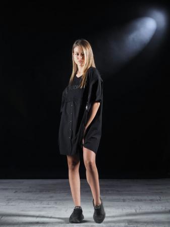 Bluza Neagra Super Dimensionata Accesorizata Cu Fermoare [0]
