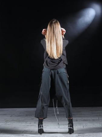 Pantalon Negru Cu Talie Inalta [8]