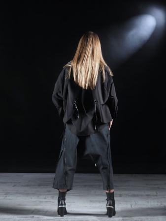 Pantalon Negru Cu Talie Inalta [7]