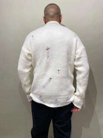 Pulover Alb Tricotat Cu Efect Rupt [2]