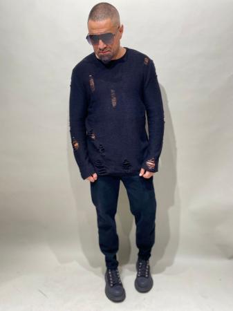 Pulover Negru Tricotat Cu Efect Rupt [2]
