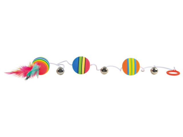 Trixie Jucarie 3 mingi Rainbow cu Clopotel Pe Sfoara 3.5 cm [0]