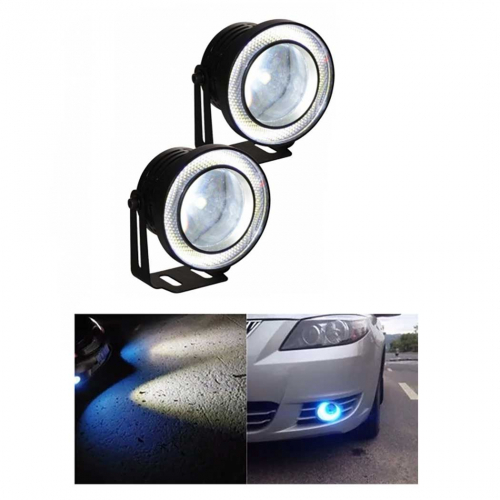 Set 2 proiectoare auto cu LED Angel Eyes, 76 mm, lumina alba [1]