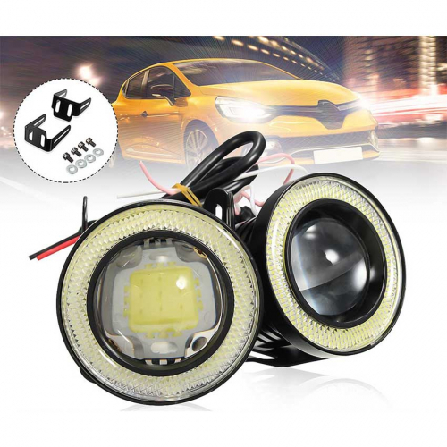 Set 2 proiectoare auto cu LED Angel Eyes, 76 mm, lumina alba [2]