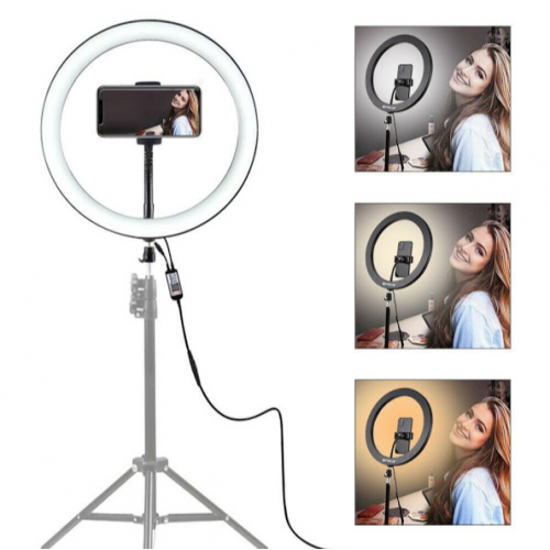Lampa circulara cu suport selfie, 60W [0]
