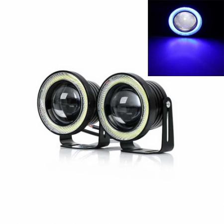 Set 2 proiectoare auto cu LED Angel Eyes, 76 mm, lumina alba [0]