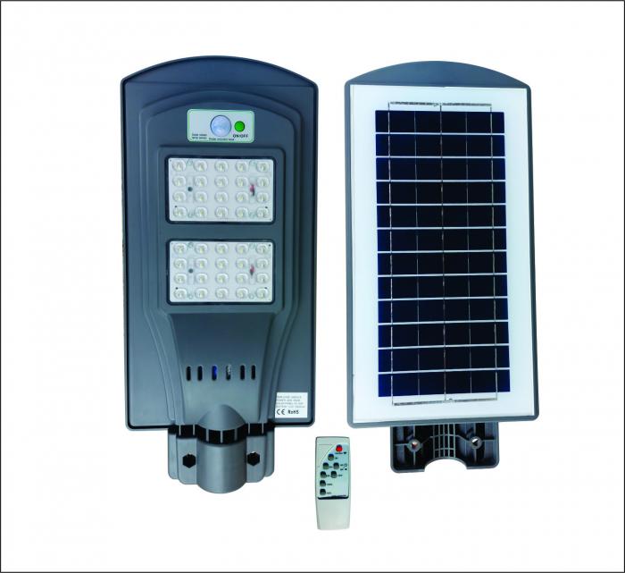 Lampa Solara Stradala de Exterior, Panou Solar Integrat, IP 65 , Senzor de Lumina si Miscare, 40 W, Gri [0]
