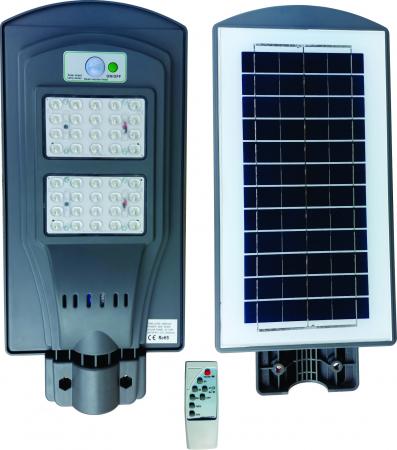 Lampa Solara Stradala de Exterior, Panou Solar Integrat, IP 65 , Senzor de Lumina si Miscare, 40 W, Gri [5]